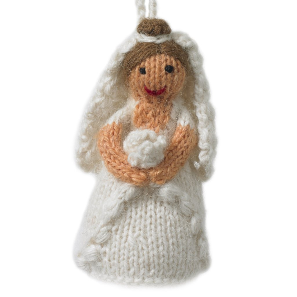 Hand Knit Wedding Ornament - Brunette Bride - Arcadia Home