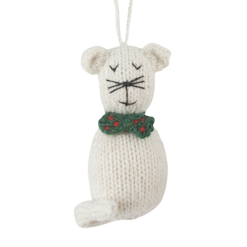 Hand Knit White Cat Ornament - Arcadia Home
