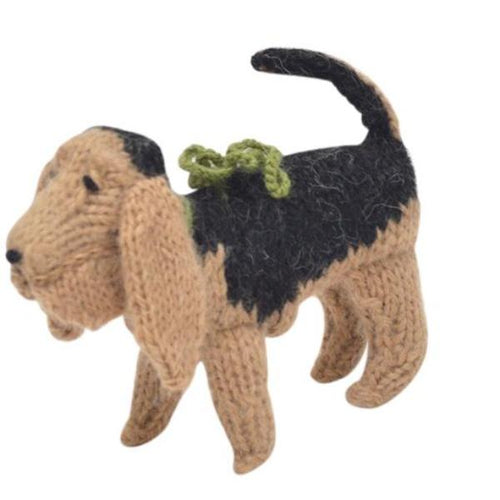 Hand Knit Alpaca Wool Christmas Ornament - Bloodhound Dog - Arcadia Home
