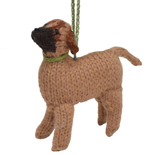 Hand Knit Alpaca Wool Christmas Ornament - Bullmastiff Dog