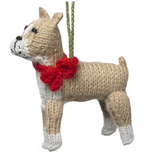 Hand Knit Alpaca Wool Christmas Ornament - Boxer Dog
