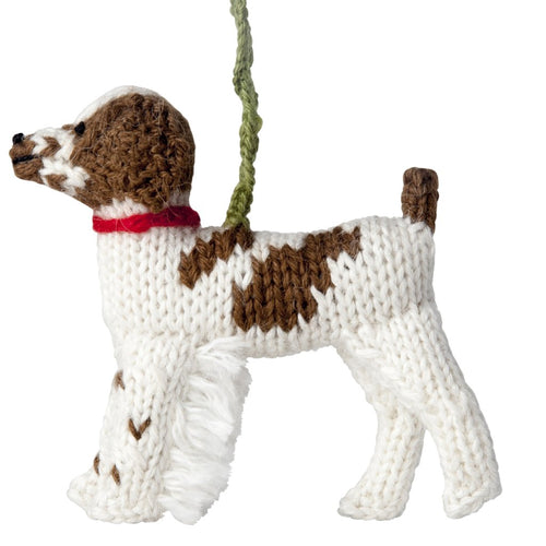 Hand Knit Alpaca Wool Christmas Ornament - Brittany Spaniel Dog - Arcadia Home