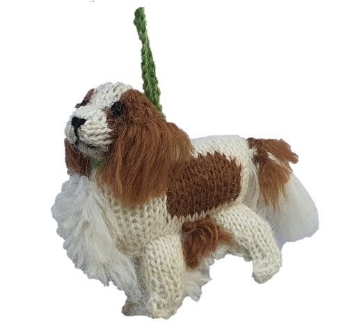 Hand Knit Alpaca Wool Christmas Ornament - Cavalier King Charles Dog