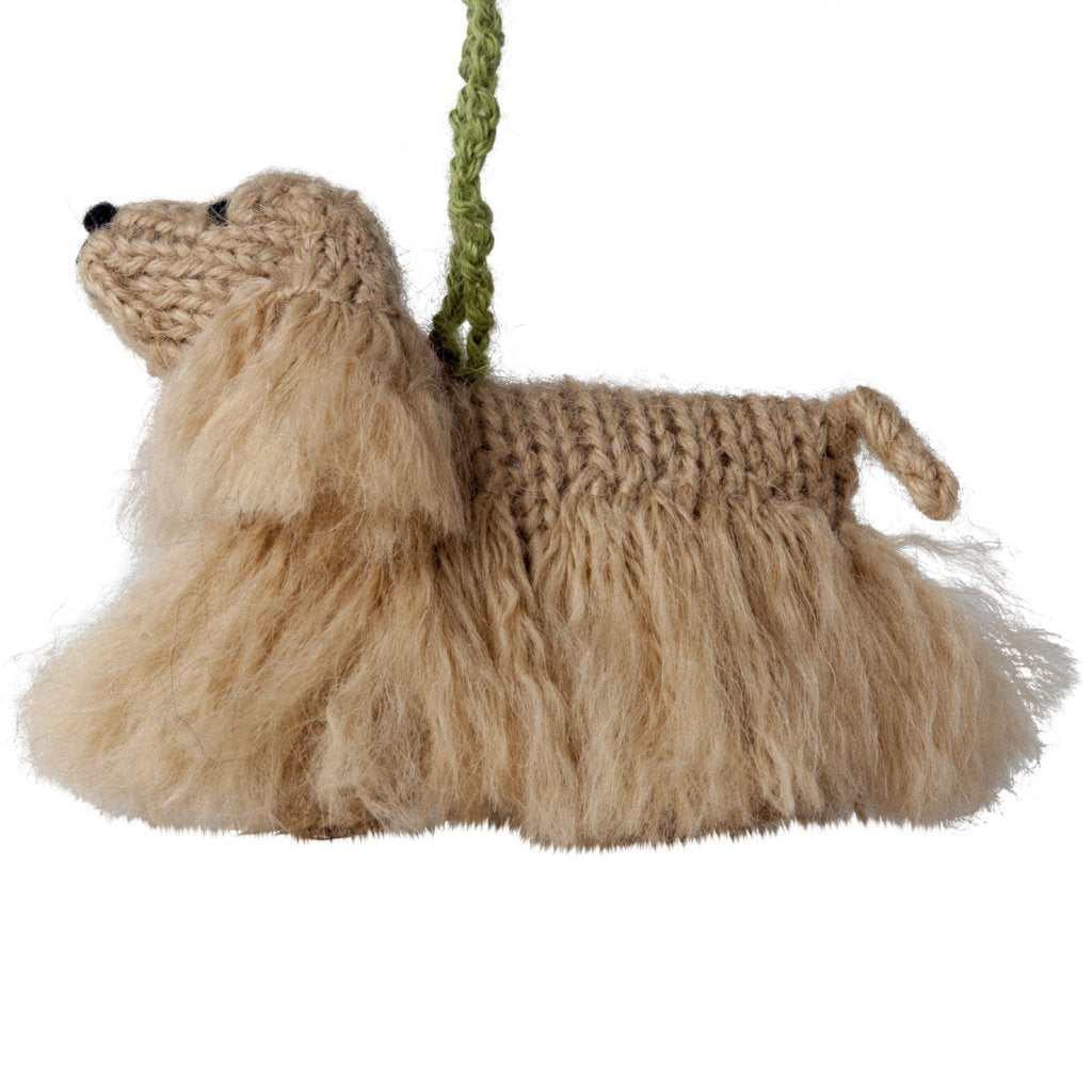 Hand Knit Alpaca Wool Christmas Ornament - Cocker Spaniel Dog