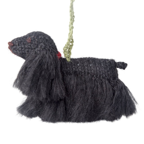 Hand Knit Alpaca Wool Christmas Ornament - Black Cocker Spaniel Dog