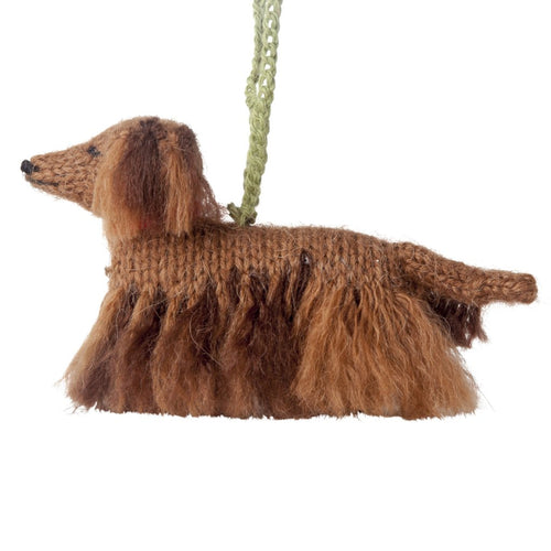 Hand Knit Alpaca Wool Christmas Ornament - Longhaired Dachshund Dog - Arcadia Home