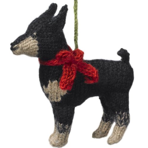 Hand Knit Alpaca Wool Christmas Ornament - Doberman Pinscher Dog - Arcadia Home