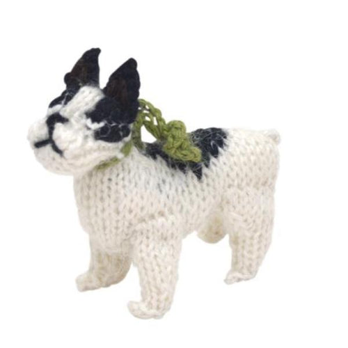 Hand Knit Alpaca Wool Christmas Ornament - French Bulldog