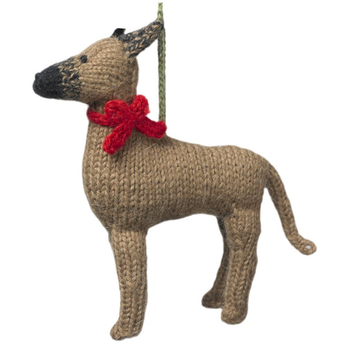 Hand Knit Alpaca Wool Christmas Ornament - Great Dane Dog