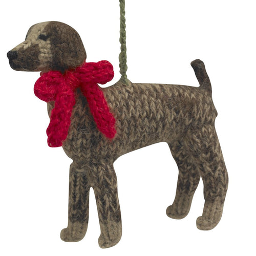 Hand Knit Alpaca Wool Christmas Ornament - German Short Haired Pointer Dog - Arcadia Home