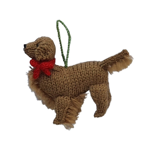 Hand Knit Golden Retriever Christmas Ornament