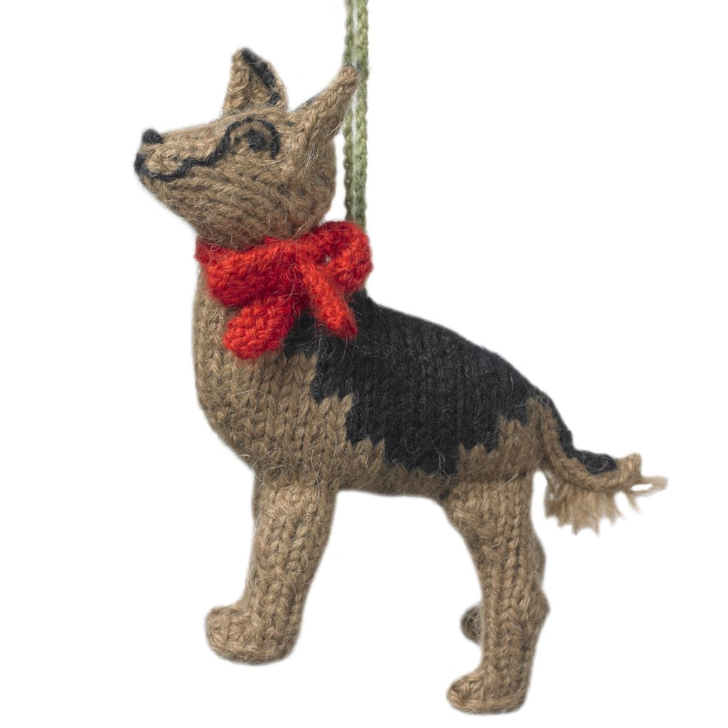 Hand Knit Alpaca Wool Christmas Ornament - German Shepherd Dog - Arcadia Home