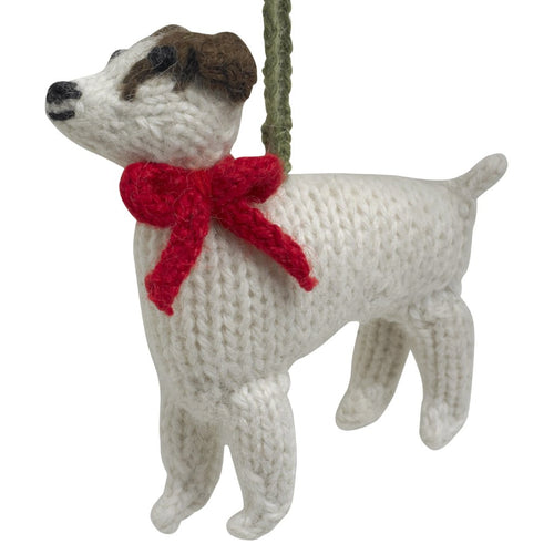 Hand Knit Alpaca Wool Christmas Ornament - Jack Russell Terrier Dog
