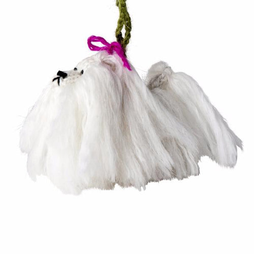 Hand Knit Alpaca Wool Christmas Ornament - Maltese Dog - Arcadia Home