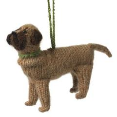 Hand Knit Alpaca Wool Christmas Ornament - Mastiff Dog