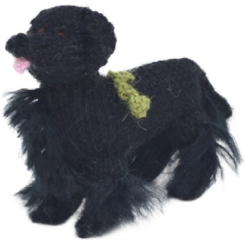 Hand Knit Alpaca Wool Christmas Ornament - Newfoundland Dog - Arcadia Home