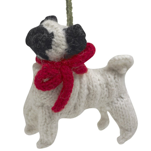 Hand Knit Alpaca Wool Christmas Ornament - Pug Dog