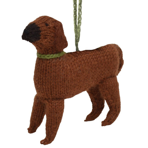 Hand Knit Alpaca Wool Christmas Ornament - Rhodesian Ridgeback Dog
