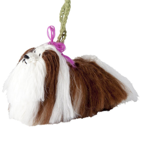 Hand Knit Alpaca Wool Christmas Ornament - Shih Tzu Dog