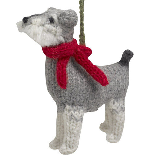 Hand Knit Alpaca Wool Christmas Ornament - Schnauzer Dog