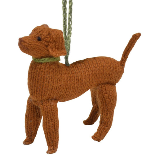 Hand Knit Alpaca Wool Christmas Ornament - Vizsla Dog