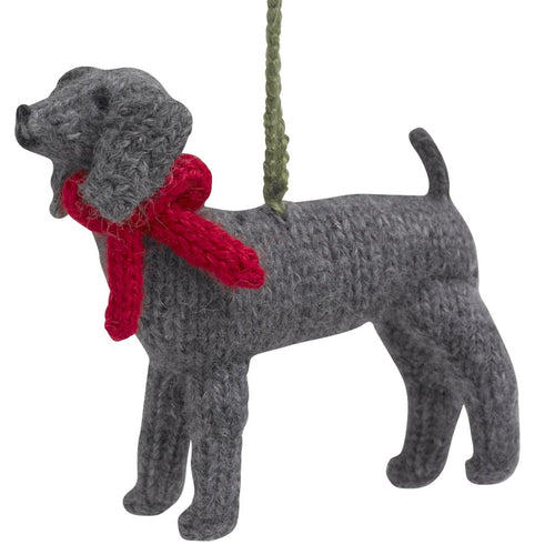 Hand Knit Alpaca Wool Christmas Ornament - Weimaraner Dog