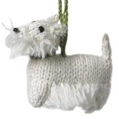 Hand Knit Alpaca Wool Christmas Ornament - Westie Dog - Arcadia Home