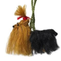 Hand Knit Alpaca Wool Christmas Ornament - Yorkie Dog