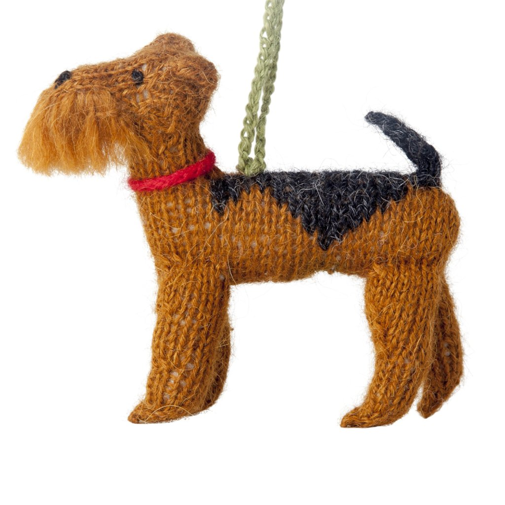 Hand Knit Alpaca Wool Christmas Ornament - Airedale Dog - Arcadia Home