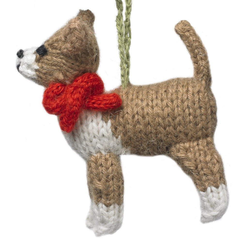 Hand Knit Alpaca Wool Christmas Ornament - Chihuahua Dog - Arcadia Home