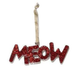 Hand Beaded MEOW Cat Christmas Ornament in Red