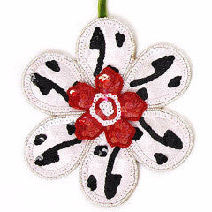 Big Sequined Flower Ornament with Red Center