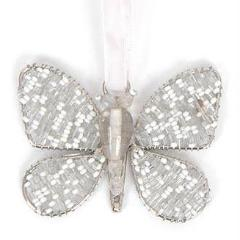 Hand Beaded Butterfly Christmas Ornament in Recycled Glass Beads - Silver and White
