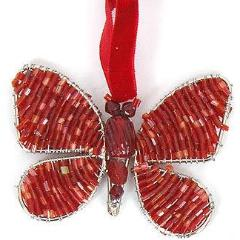 Hand Beaded Butterfly Christmas Ornament in Recycled Glass Beads - Red - Set of 2