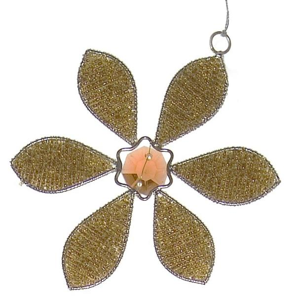 Hand Beaded Big Flower Christmas Ornament in Gold