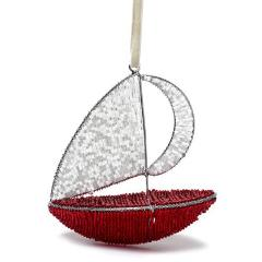 Handmade Sailboat Christmas Ornament in Recycled Glass Beads