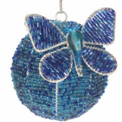 Butterfly Ball Ornament in Blue and Turquoise - Arcadia Home