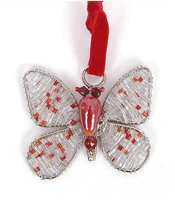 Hand Beaded Butterfly Christmas Ornament in Recycled Glass Beads - Silver/Red - Set of 2