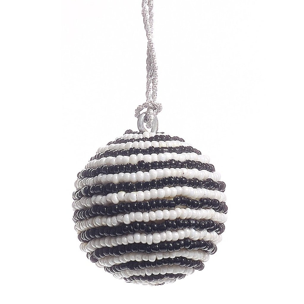 Handmade Ball Christmas Ornament - Black and White Beads - Mini - Set of 3