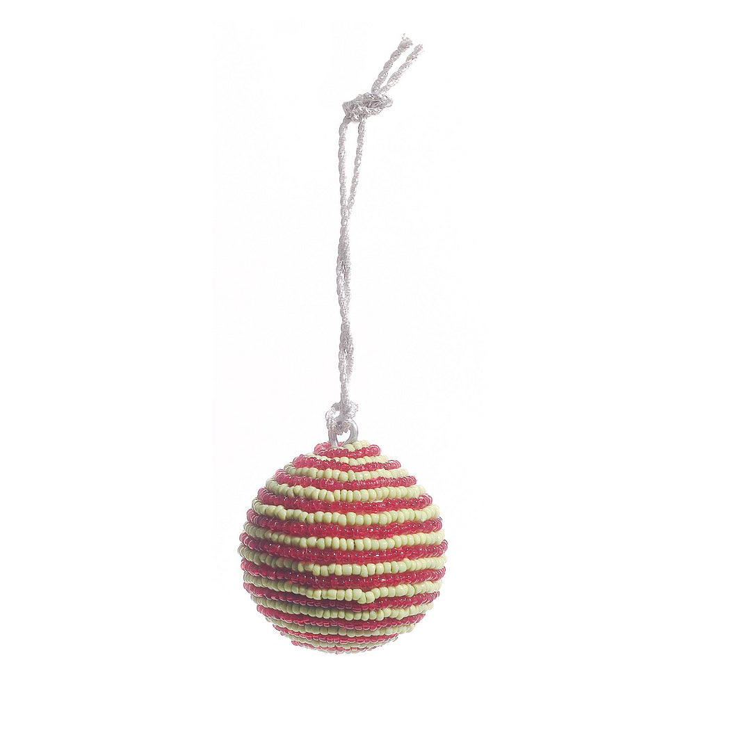 Handmade Ball Christmas Ornament - Red and Green Beads - Mini - Set of 4