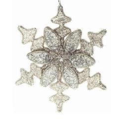 Hand Beaded Snowflake and Flower Christmas Ornament in Silver - 8