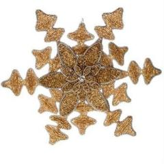 Hand Beaded Snowflake and Flower Christmas Ornament in Gold - 8