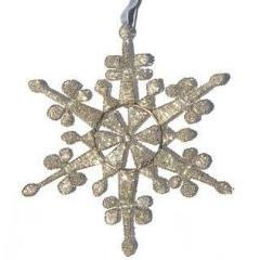 Hand Beaded Baroque Snowflake Christmas Ornament in Silver - Arcadia Home