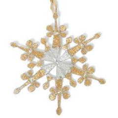 Hand Beaded Baroque Snowflake Christmas Ornament in Gold and Silver