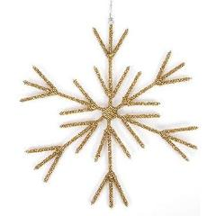 Hand Beaded Stick Snowflake Christmas Ornament in Gold