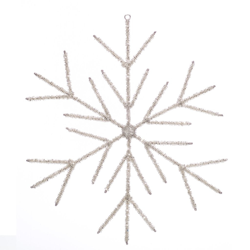 Extra Large Hand Beaded Stick Snowflake Christmas Ornament in Silver - Arcadia Home