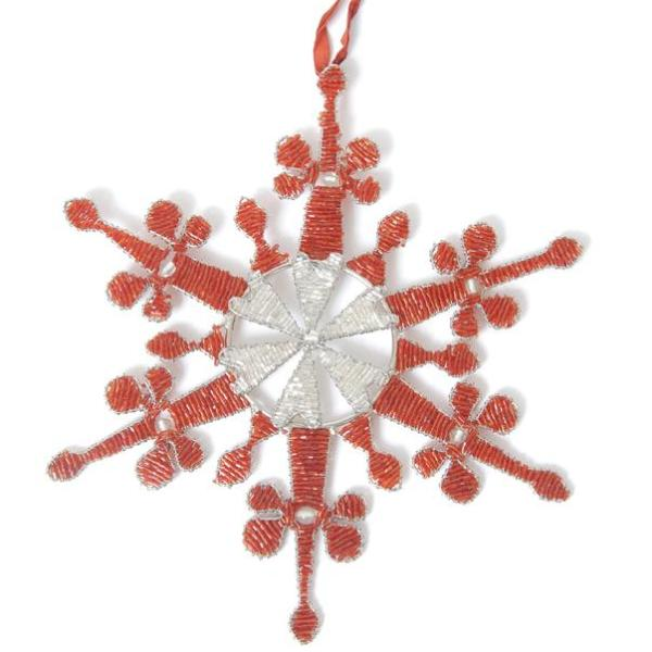 Hand Beaded Baroque Snowflake Christmas Ornament in Red