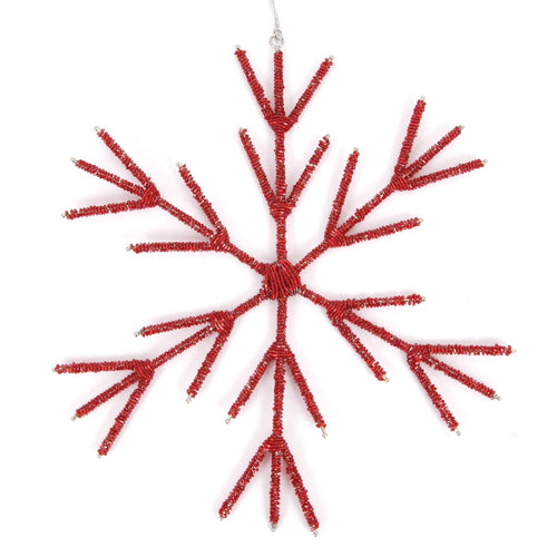 Hand Beaded Stick Snowflake Christmas Ornament in Red - Arcadia Home