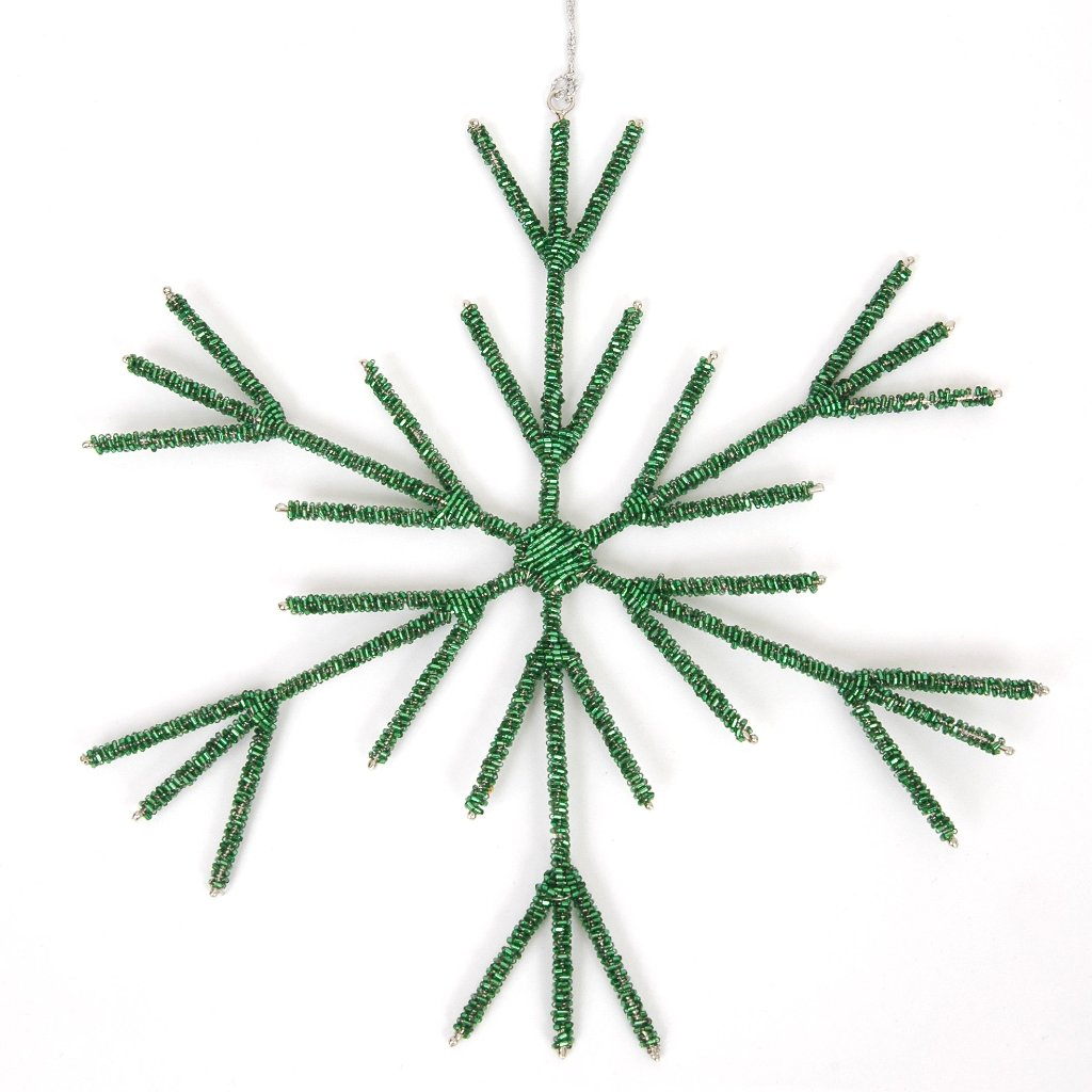 Hand Beaded Stick Snowflake Christmas Ornament in Green - 8