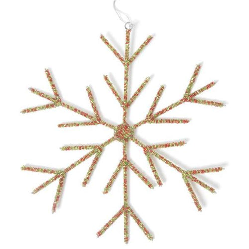Hand Beaded Stick Snowflake Christmas Ornament in Red and Green - Arcadia Home